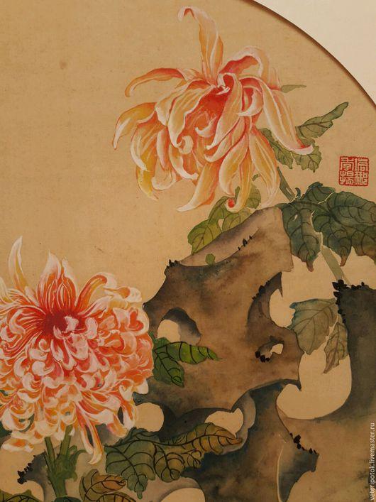Картины цветов ручной работы. Ярмарка Мастеров - ручная работа. Купить картина на рисовой бумаге Хризантемы у камня. Handmade. тушь