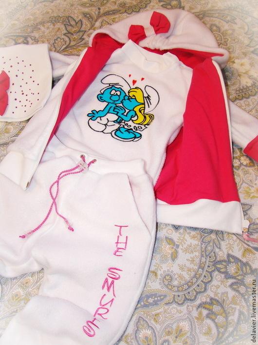 """Одежда для девочек, ручной работы. Ярмарка Мастеров - ручная работа. Купить Теплый комплект-вырастайка для  малышки """"Смурфики""""-3 от Делавьи. Handmade."""