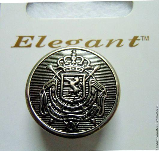 Пуговицы металлические на ножке с гербом, цвет серебро. Есть 3 размера: 16 мм, 19 мм, 22 мм. Купить металлические пуговицы.