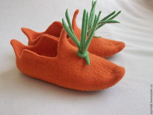 """Обувь ручной работы. Ярмарка Мастеров - ручная работа. Купить Тапочки """"Морковка"""". Handmade. Тапочки валяные, обувь ручной работы"""