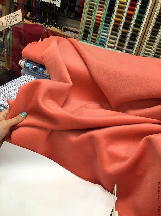 Шитье ручной работы. Ярмарка Мастеров - ручная работа. Купить Кашемир с шерстью цвет лососёвый. Handmade. Кремовый, пальто женское