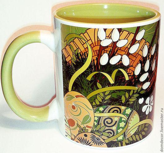 """Кружки и чашки ручной работы. Ярмарка Мастеров - ручная работа. Купить Чашка """"Пасхальная верба"""". Handmade. Зеленый, Пасха, чашка"""
