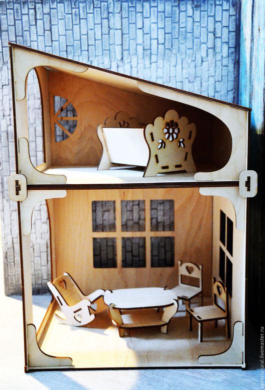 Декупаж и роспись ручной работы. Ярмарка Мастеров - ручная работа. Купить Кукольный дом с мебелью домик для куклы для декупажа росписи заготовка. Handmade.