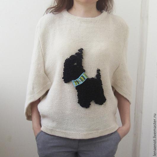 Кофты и свитера ручной работы. Ярмарка Мастеров - ручная работа. Купить Джемпер с терьером 1. Handmade. Белый, свитер вязаный