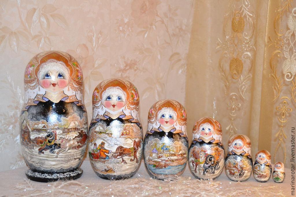 Матрешки ручной работы. Ярмарка Мастеров - ручная работа. Купить Зима в деревне, 7 мест. Handmade. Роспись по дереву