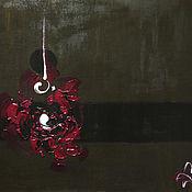"""Картины и панно ручной работы. Ярмарка Мастеров - ручная работа Картина """"Вишнёвое и белое на коричневом"""". Handmade."""