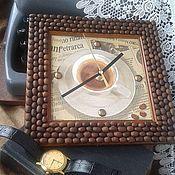 """Для дома и интерьера ручной работы. Ярмарка Мастеров - ручная работа часы коричневые настенные"""" кофе для него"""" подарок мужчине. Handmade."""