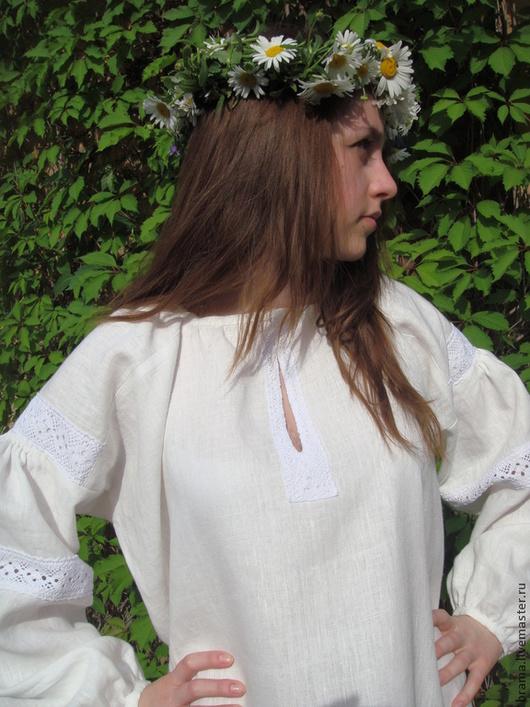 Этническая одежда ручной работы. Ярмарка Мастеров - ручная работа. Купить Платье белое льняное с кружевом. Handmade. Белый