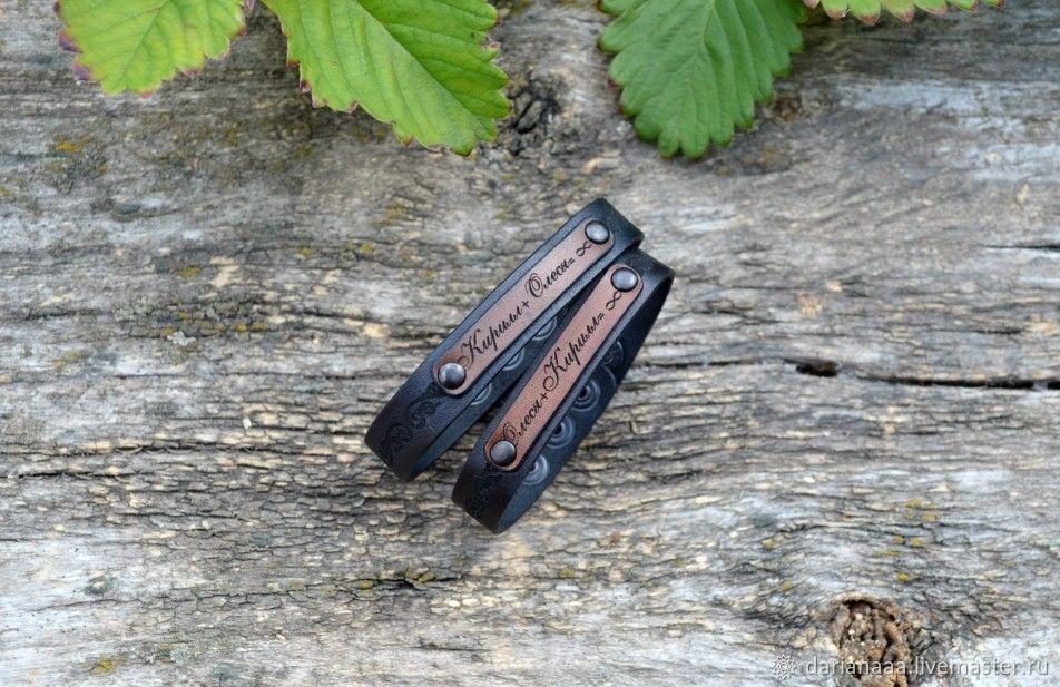 Pair of bracelets engraved leather, Bead bracelet, Sizran,  Фото №1