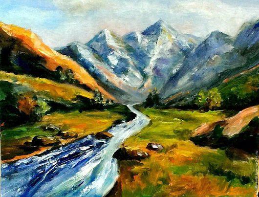 Пейзаж ручной работы. Ярмарка Мастеров - ручная работа. Купить Картина Горная речка. Handmade. Голубой, оранжевый