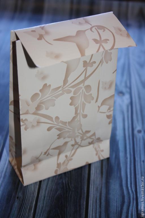 """Упаковка ручной работы. Ярмарка Мастеров - ручная работа. Купить Упаковочный пакет """"Колибри"""". Handmade. Бежевый, кремовый цвет, бумага"""
