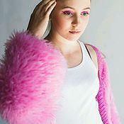 Одежда ручной работы. Ярмарка Мастеров - ручная работа Розовый кардиган с имитацией меха. Handmade.