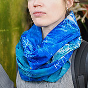 Аксессуары handmade. Livemaster - original item warm wool snood mistress of the sea green blue prints tui. Handmade.