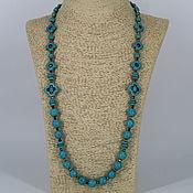 Украшения handmade. Livemaster - original item Long beads of howlite and hematite