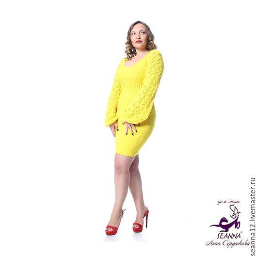 Большие размеры ручной работы. Ярмарка Мастеров - ручная работа. Купить Эффектное вязаное платье из хлопка Солнечно-Желтое в любом размере. Handmade.
