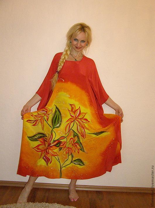 Большие размеры ручной работы. Ярмарка Мастеров - ручная работа. Купить платье- Солнышки. Handmade. Рыжий, большие размеры