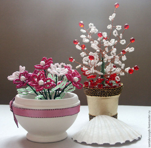Искусственные растения ручной работы. Ярмарка Мастеров - ручная работа. Купить цветы из бисера. Handmade. Цветы из бисера, тесьма декоративная