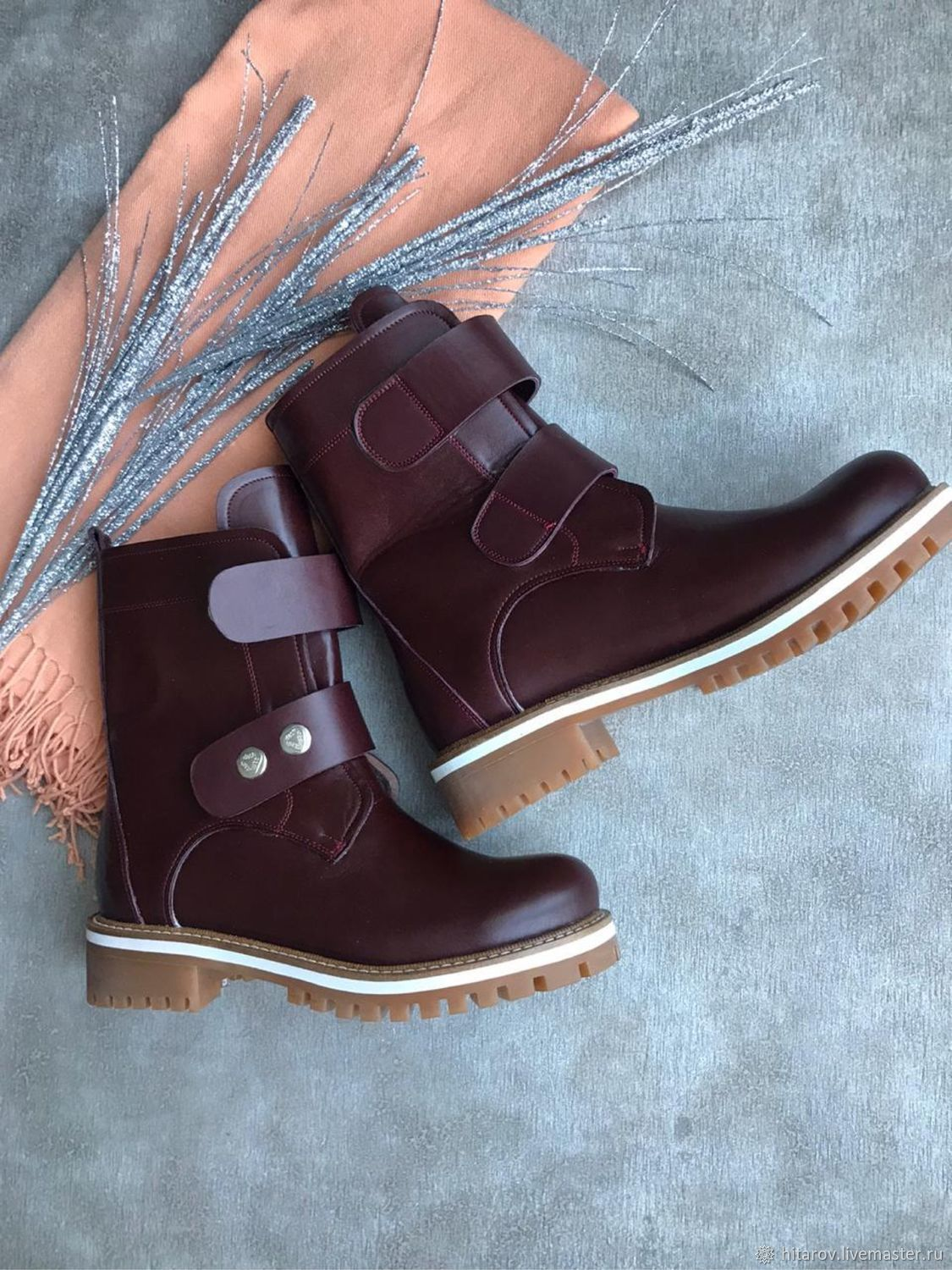 Fashion 'Bordeaux' beige with white edging two clasps, Boots, Moscow,  Фото №1
