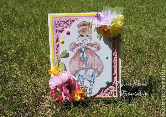 Детские открытки ручной работы. Ярмарка Мастеров - ручная работа. Купить Открытка детская для девочки. Handmade. Розовый, подарок девочке