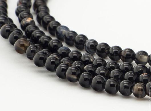 Для украшений ручной работы. Ярмарка Мастеров - ручная работа. Купить Агат черный бусины шар 3мм, нить - арт.13-02. Handmade.