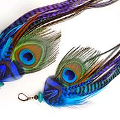 Украшения handmade. Livemaster - original item Colorful long earrings with peacock feather.. Handmade.