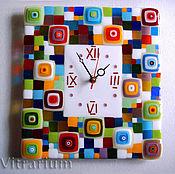 Для дома и интерьера handmade. Livemaster - original item Clock in fusing technique