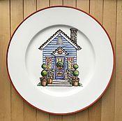 """Посуда ручной работы. Ярмарка Мастеров - ручная работа Фарфоровая тарелка """"Домик"""". Handmade."""