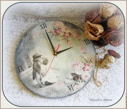 """Часы для дома ручной работы. Ярмарка Мастеров - ручная работа. Купить Часы большие  """"Нежный поцелуй"""". Handmade. Мятный, розы"""