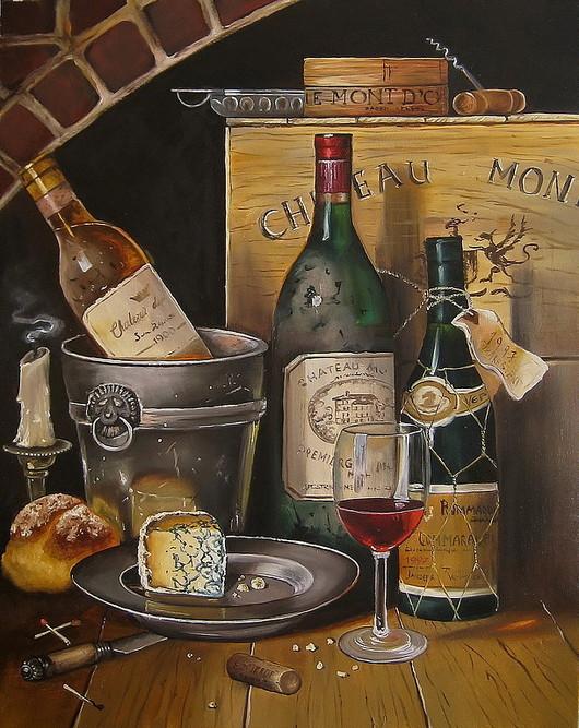 Натюрморт ручной работы. Ярмарка Мастеров - ручная работа. Купить Картина маслом. Старый погребок. Handmade. Бутылки, старое вино