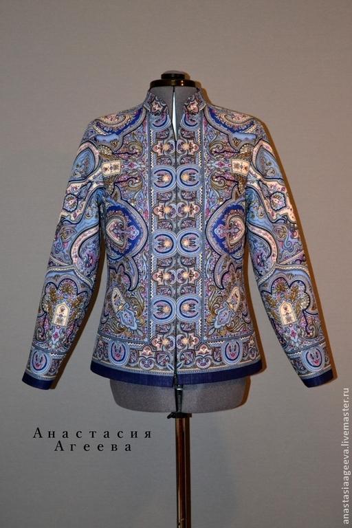 """Верхняя одежда ручной работы. Ярмарка Мастеров - ручная работа. Купить -1000 р Куртка-жакет из платка """"Испанский"""" в синей гамме.. Handmade."""