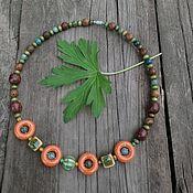 handmade. Livemaster - original item Beads necklace made of ceramic and wood 2. Handmade.