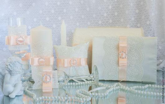 Свадебные аксессуары ручной работы в персиковом цвете купить