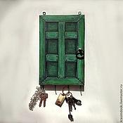 """Для дома и интерьера ручной работы. Ярмарка Мастеров - ручная работа Ключница """"Зеленая дверь"""". Handmade."""