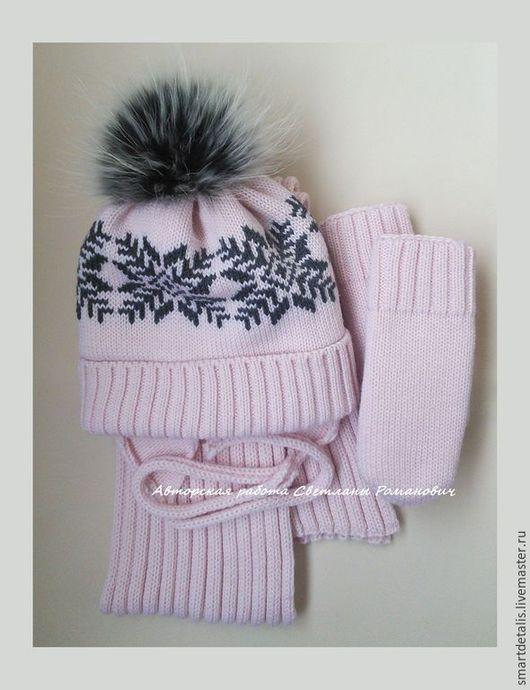 Шапки и шарфы ручной работы. Ярмарка Мастеров - ручная работа. Купить Зимний шерстяной комплект с меховым помпоном для девочки. Handmade.