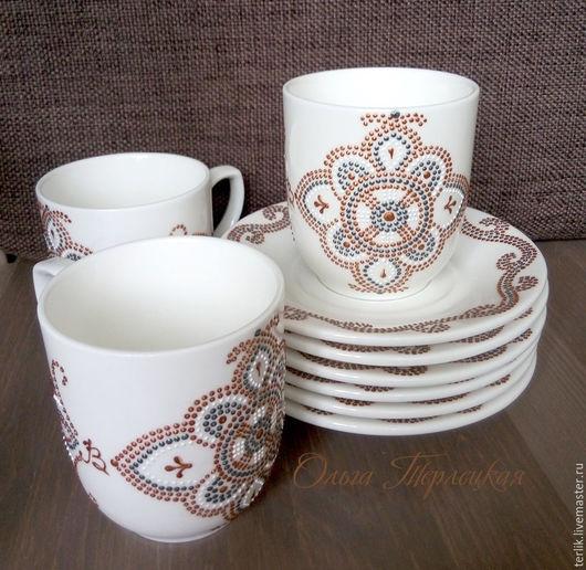 Заказать фарфоровую чайную пару с авторской росписью.