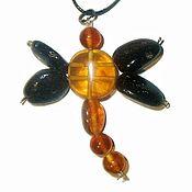 Украшения handmade. Livemaster - original item Dragonfly Baltic amber pendant insect Jewelry fashion gift girl. Handmade.