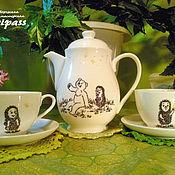 """Посуда ручной работы. Ярмарка Мастеров - ручная работа Чайный сервиз """"Ёжик в тумане"""" с росписью. Handmade."""