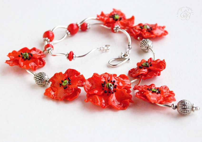 'Poppy field': necklace, Necklace, St. Petersburg,  Фото №1