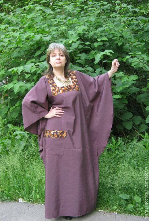 Большие размеры ручной работы. Ярмарка Мастеров - ручная работа. Купить Свободное платье в пол. Handmade. Платье льняное, трикотаж