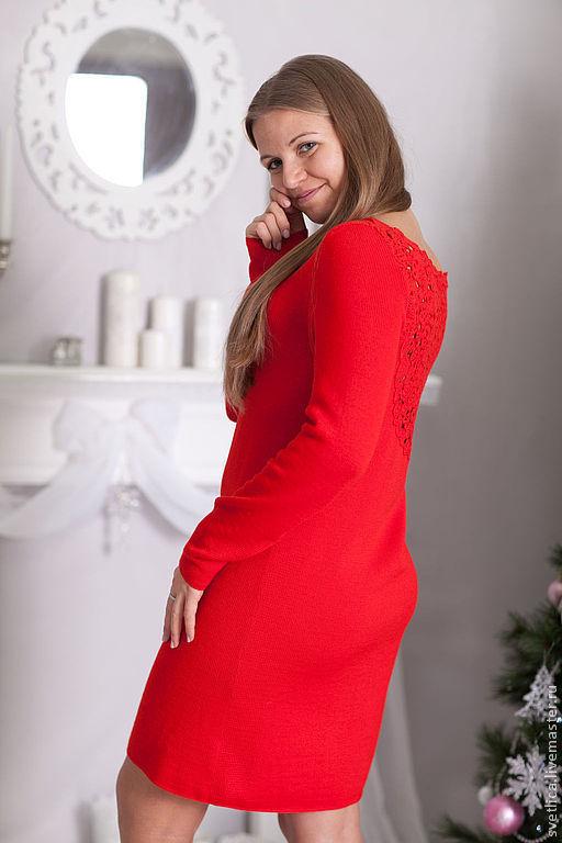 Платья ручной работы. Ярмарка Мастеров - ручная работа. Купить Платье красное с ажурной спинкой. Handmade. Ярко-красный