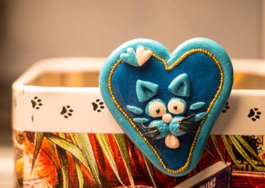 """Броши ручной работы. Ярмарка Мастеров - ручная работа. Купить Брошь """" Котик"""". Handmade. Брошь ручной работы, синий"""