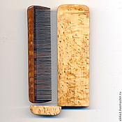 Гребни ручной работы. Ярмарка Мастеров - ручная работа Деревянная  миниатюрная расческа в футляре из карельской березы. Handmade.
