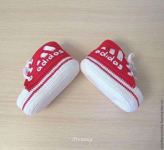"""Для новорожденных, ручной работы. Ярмарка Мастеров - ручная работа. Купить Пинетки кеды """"Adidas"""". Handmade. Ярко-красный, adidas"""
