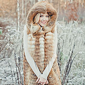 Одежда handmade. Livemaster - original item Fox fur vest with hood. Handmade.
