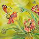 """Картины цветов ручной работы. Ярмарка Мастеров - ручная работа. Купить """"Поцелуй лета"""" диптих батик- панно. Handmade. цветы"""