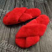 handmade. Livemaster - original item Women`s Slippers made of natural sheepskin fur. Chanel. Handmade.