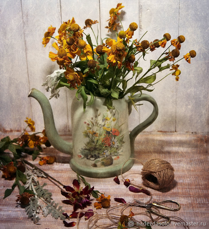Watering can ceramic the melody of summer. Watering can decoupage, Vases, Khimki,  Фото №1