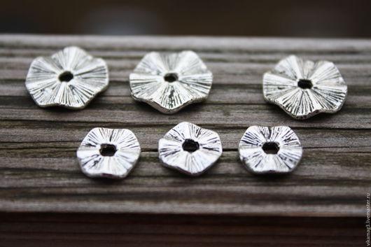 Для украшений ручной работы. Ярмарка Мастеров - ручная работа. Купить Спейсеры  волнистые, цвет серебро, 10 мм и 15 мм. Handmade.