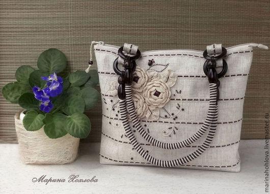 Летняя сумка. Льняная сумка. Романтический стиль. Сумка с вязаными розами. Сумка изо льна.