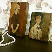 """Картины и панно ручной работы. Ярмарка Мастеров - ручная работа Панно на дереве. """"Женщина с черной лентой"""" и """"Портрет Полетты Журден"""". Handmade."""